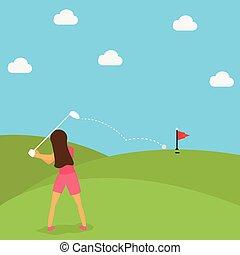 juego, mujer, pelota de golf, verde, puesto, caricatura