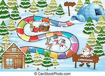 juego, navidad, tabla
