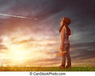 juego, niño, juguetee avión