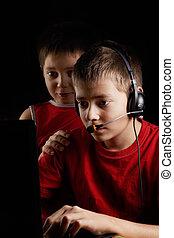 juego, niños, computadora, juego