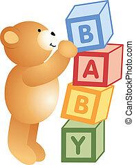 juego, oso, teddy