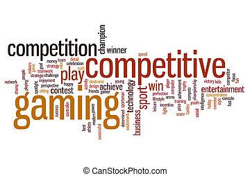 juego, palabra, competitivo, nube