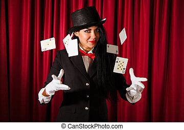 juego, paquete, mago, tarjetas