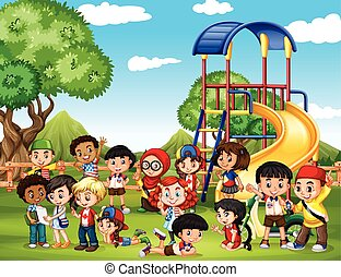 juego, parque, niños