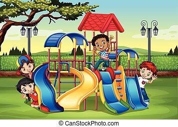 juego, patio de recreo, niños