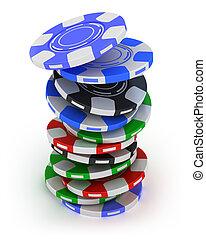 juego, pedacitos del póker, pila