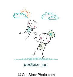 juego, pediatra, niño