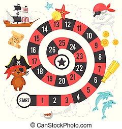 juego, pirata, plantilla, tabla
