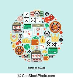 juego, plano, iconos, conjunto