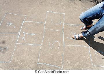 juego, rayuela, aire libre
