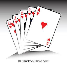 juego, real, tarjeta, ilustración, rubor