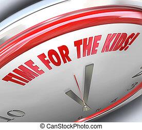 juego, recreo, reloj, recreación, niños, palabras, tiempo, especial, 3d