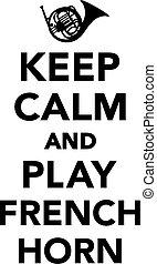 juego, retener, calma, cuerno francés