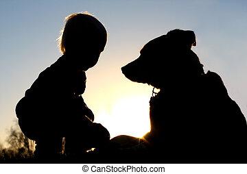 juego, silueta, perro, niño