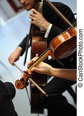 juego, sinfonía, detalles, músicos