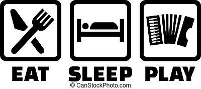 juego, sueño, comer, acordeón
