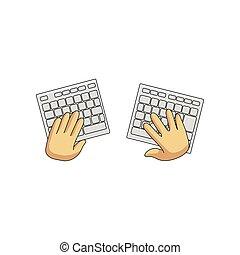 juego, teclado, aislado, radio, usuario, plano de fondo, manos, blanco, dividir