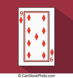 juego, tela, easy., cita, imagen, fondo., juego, camiseta, icono, póker, vector, registro, 9, design., substrate., base, interior, prensa, sitio web, rojo, diamont, nueve, card., ilustración, aplicación, blanco