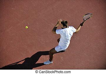 juego, tenis, joven