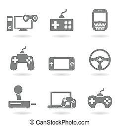 juego, un, icono