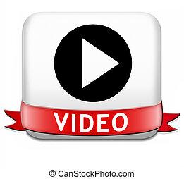 juego, vídeo, botón