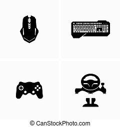 juego, vídeo, dispositivos