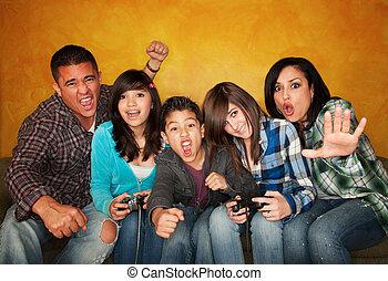 juego, vídeo, juego, familia