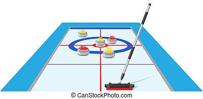 juego, vector, deporte, curling