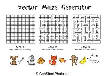 juego, vector, generador, laberinto
