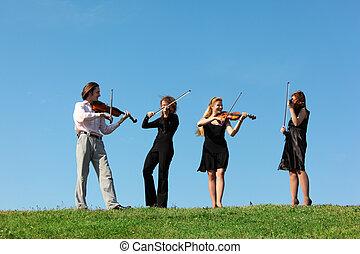 juego, violines, cielo, contra, cuatro, músicos