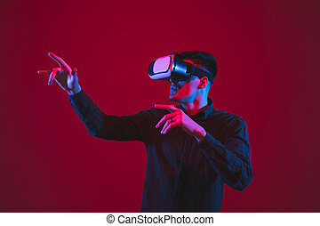 juego, vr-headset, purple-blue, emocional, plano de fondo, ...