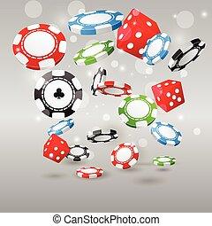 juego, y, casino, símbolos