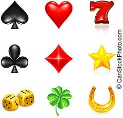 juego, y, suerte, icono, conjunto