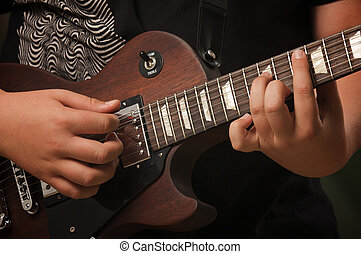 juegos, músico, el suyo, gibson