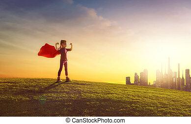 juegos, niña, superhero