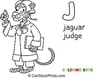juez, abc, libro colorear, j, jaguar, alfabeto