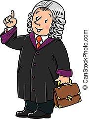 juez, divertido, entender, pulgares arriba