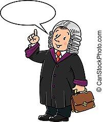 juez, divertido, globo, texto