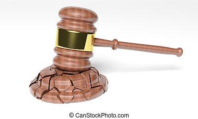 juez, encima, roto, plano de fondo, martillo, blanco
