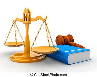 juez, martillo, con, libros de ley, y, escalas