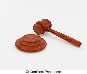 juez, martillo, encima, fondos, blanco