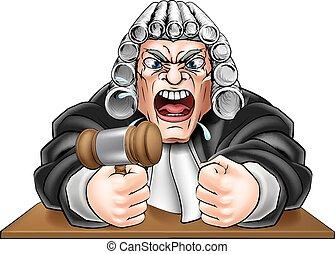 juez, martillo, enojado