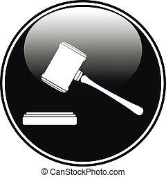 juez, martillo, icono