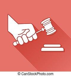 juez, martillo, símbolo, mano