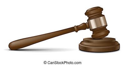 juez, martillo, vector