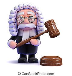 juez, pasa, 3d, oración