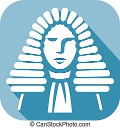 juez, plano, macho, icono