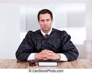 juez, retrato, macho, serio