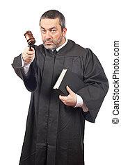 juez, serio, macho