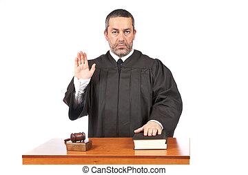 juez, serio, toma, macho, juramento